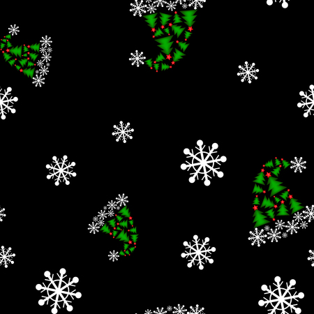 Christmas seamless pattern with Santa caps and snowflakes on black background