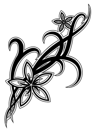 Black tribal flower illustration on white background