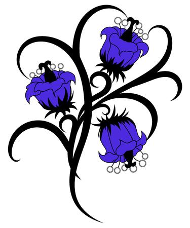 Blue tribal flower illustration on white background