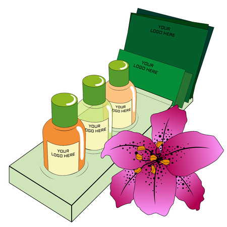 Hotel toiletries with purple lily flower on white background  イラスト・ベクター素材