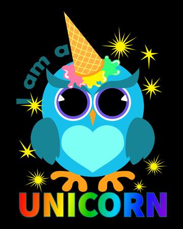 Owl unicorn with ice cream on forehead
