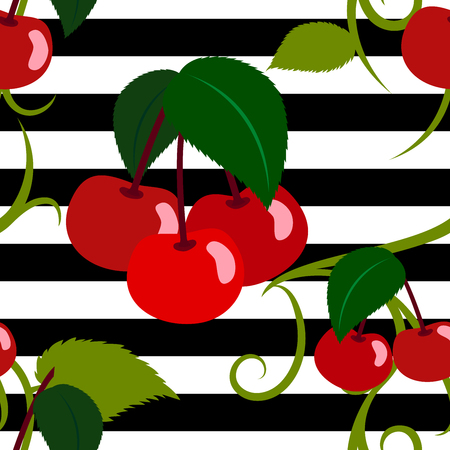 Cherry seamless pattern with ornaments on striped background  イラスト・ベクター素材