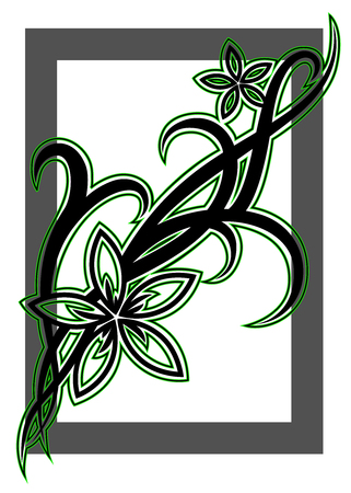 Black tribal flower illustration with green outline on white background