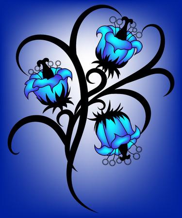 Blue tribal flower illustration on white-blue background