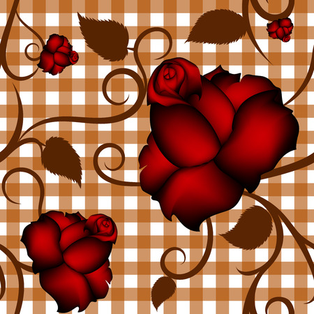 Roses seamless pattern on orange squared background