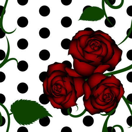 Roses seamless pattern with ornaments and circles on white background  イラスト・ベクター素材
