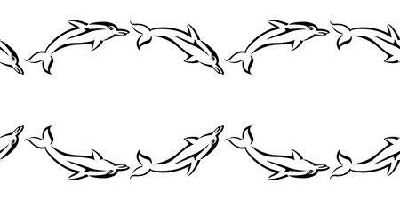 Black tribal dolphin seamless pattern on white background. Vector backdrop illustration