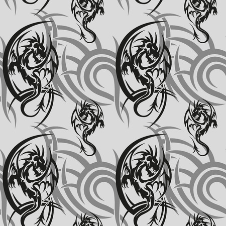 Black tribal dragon tattoo seamless pattern on gray background. Vector backdrop illustration
