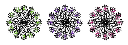 Set of three tribal ornamental flowers with the colors ufo green, plastic pink and proton purple. Vector illustration  イラスト・ベクター素材