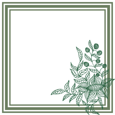 Square frame with green flower on white background. Vector illustration  イラスト・ベクター素材