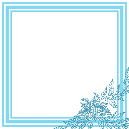 Square frame with blue flower on white background. Vector illustration