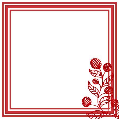 Square frame with red berries on white background. Vector illustration