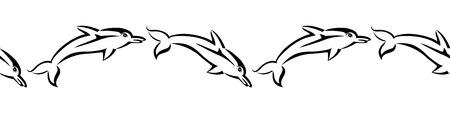 Black tribal dolphin seamless pattern on white background. Vector backdrop illustration