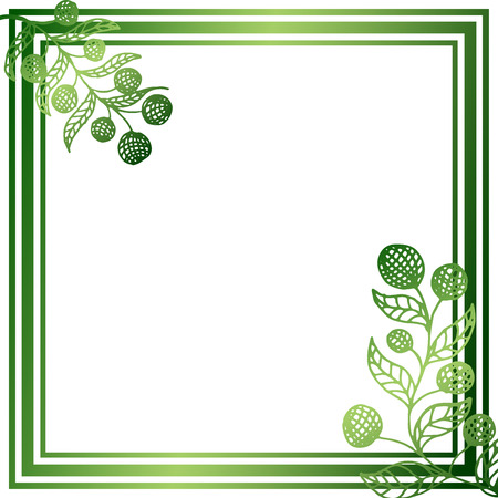 Square frame with green berries on white background. Vector illustration  イラスト・ベクター素材