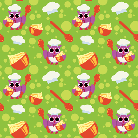 Owl cook seamless pattern for fabric, textile, cloth or wrapping paper. Colorful backdrop vector illustration on green background