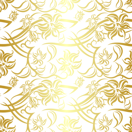 Tribal Flower seamless pattern with golden gradient on white background. Backdrop vector illustration