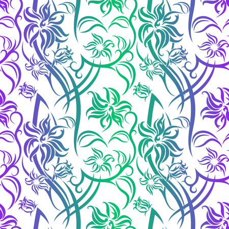 Tribal Flower seamless pattern with purple and green gradient on white background. Backdrop vector illustration