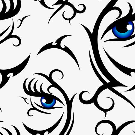 Modello senza cuciture occhi azzurri donna su sfondo bianco per tessuto, tessuto, stoffa, stampa, carta da imballaggio o carta da parati. Illustrazione di sfondo vettoriale
