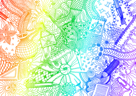 Hand drawn doodle backdrop pattern with numerous different school and office items. Rainbow colored tracery on white background, vector illustration