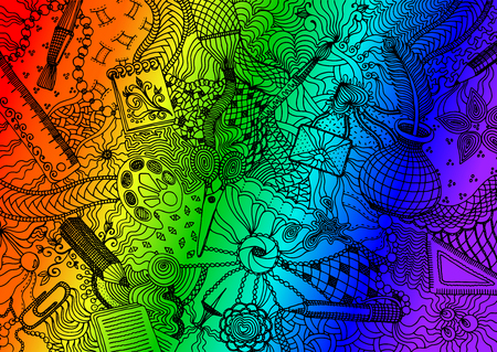 Hand drawn doodle backdrop pattern with numerous different school and office items. Black tracery on rainbow colored background, vector illustration
