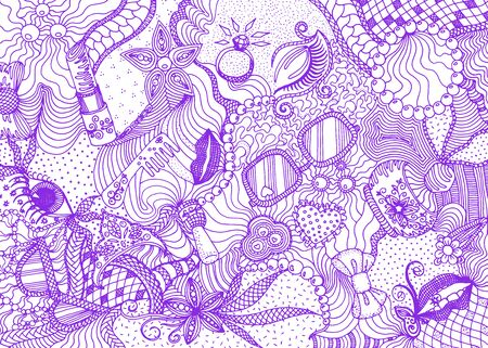Hand drawn doodle backdrop pattern with numerous different women things. Purple tracery on white background, vector illustration