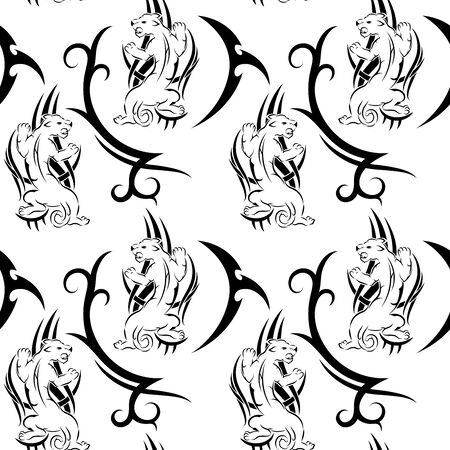 Black tribal panther with red eyes tattoo seamless pattern on white background for fabric print, cloth, textile or wrapping paper. Vector backdrop illustration