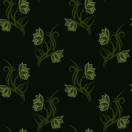 Green tribal Flower seamless pattern on dark green background for fabric print, cloth, textile or wrapping paper. Backdrop vector illustration