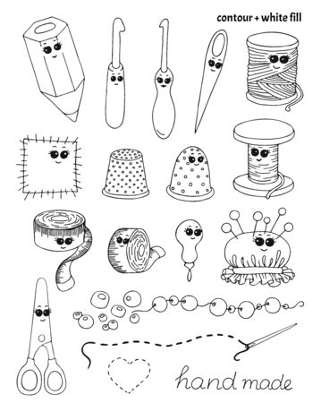 Set of hand drawn needlecraft, creative occupation and handmade items in doodle style. Isolated kawaii handwork vector illustration with black contour and white fill