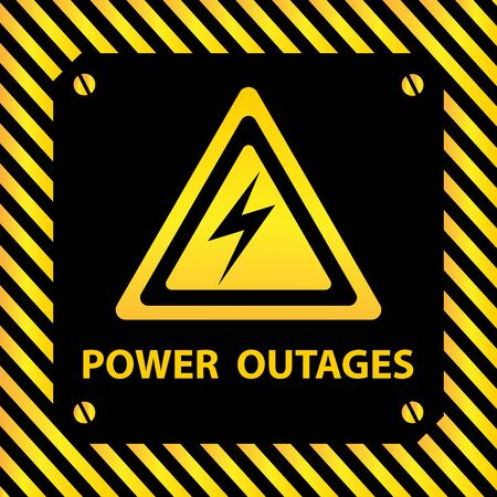 Power off Power outages. Electricity icon. Warning poster in yellow and black.
