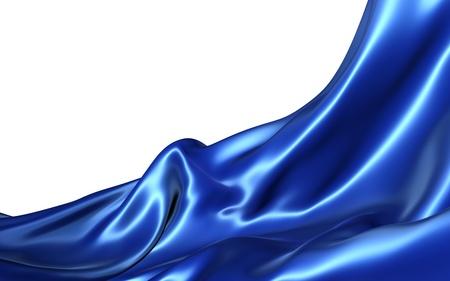 tela seda: Abstracto tela azul sobre un fondo blanco