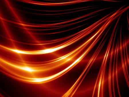 Abstract thin red lines on black background photo