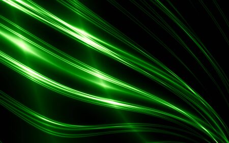 Abstract thin green lines on black background photo