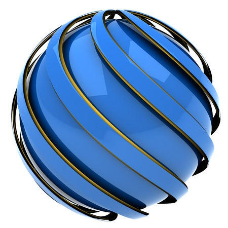 blue sphere: abstract sphere of blue and gold, 3d image isolated