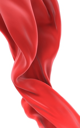 Abstract red cloth on a white background, 3d image isolated