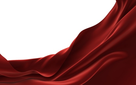 Abstract red fabric with a texture of velvet, 3D image