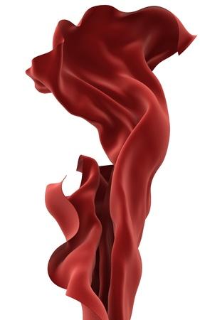 tela seda: Resumen de tela de color rojo sobre un fondo blanco, imagen 3d aislado