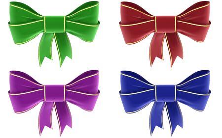velvet ribbon: set of colorful ribbons on a white background, isolated image Stock Photo