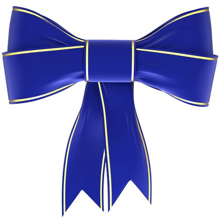 velvet ribbon: blue bow on a white background, isolated image