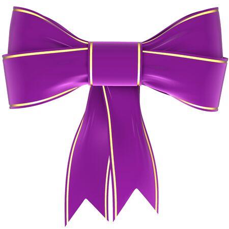 velvet ribbon: magenta bow on a white background, isolated image Stock Photo