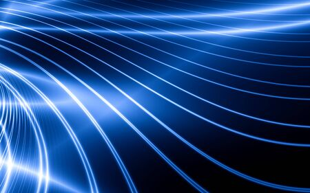 Abstract thin blue lines on black background photo