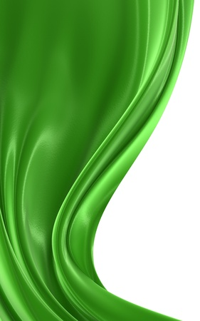 tela seda: Resumen de tela verde sobre un fondo blanco, imagen 3d aislado Foto de archivo
