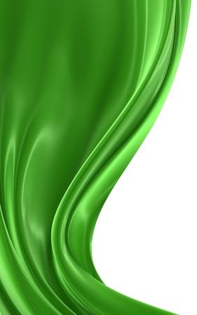 seidenstoff: Zusammenfassung gr�nen Tuch auf wei�em Hintergrund, isoliert 3D-Bild