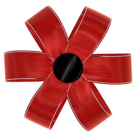 velvet ribbon: red bow on a white background, isolated image