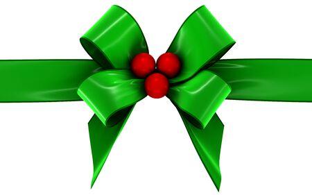 velvet ribbon: green bow on a white background, isolated image