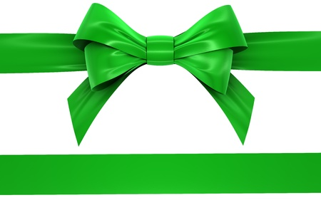 green bow and ribbon on a white background, isolated image