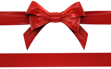 velvet ribbon: red bow and ribbon on a white background, isolated image