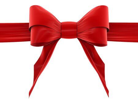 velvet ribbon: red bow Stock Photo