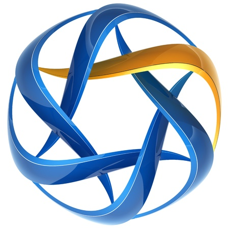 Abstract icon of blue and yellow 3d lines, image isolated