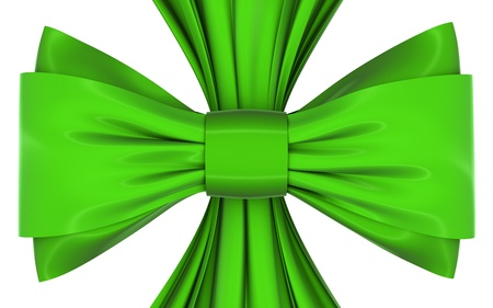 velvet ribbon: green bow and ribbon on a white background, isolated image