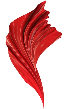 Abstract red cloth on a white background, image isolated